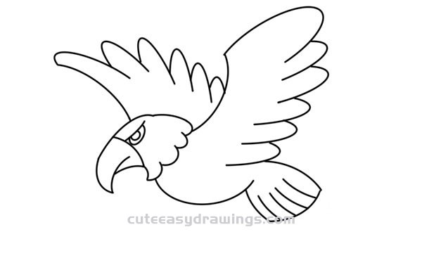 How to Draw a Flying Bald Eagle Easy Step by Step for Kids