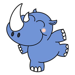 How to Draw a Cute Cartoon Rhino Easy Step by Step for Kids