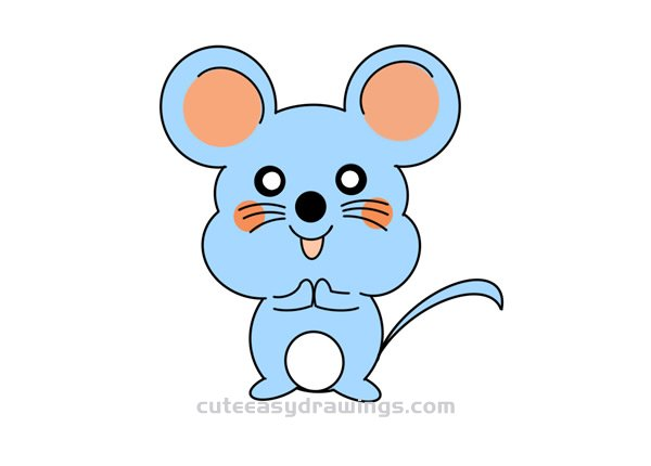 How To Draw A Cute Cartoon Mouse Easy Step By Step For Kids Cute