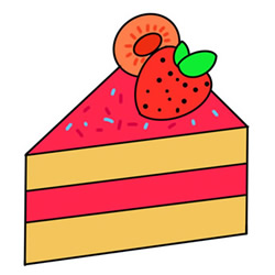 How to Draw a Strawberry Layer Cake Easy Step by Step for Kids