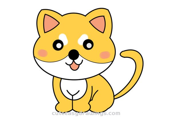 How To Draw A Yellow Cat Easy Step By Step For Kids Cute Easy