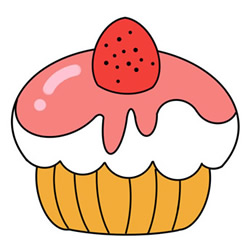 How to Draw a Strawberry Cupcake Easy Step by Step for Kids