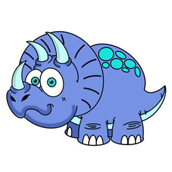 How to Draw a Cartoon Triceratops Easy Step by Step for Kids