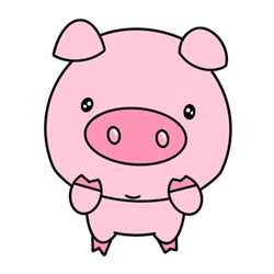 How to Draw a Pink Cartoon Pig Easy Step by Step for Kids