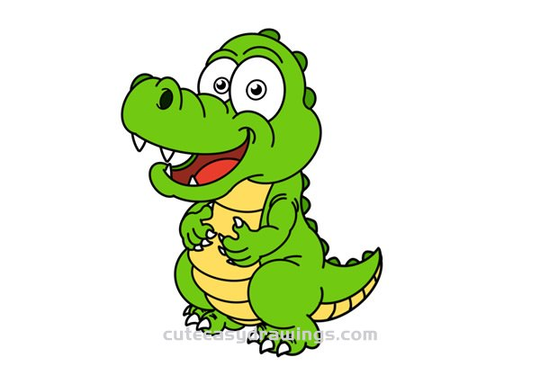 How To Draw A Funny Cartoon Crocodile Easy Step By Step For Kids