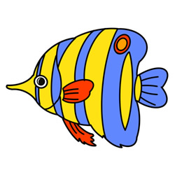 How to Draw a Colorful Tropical Fish Easy Step by Step for Kids
