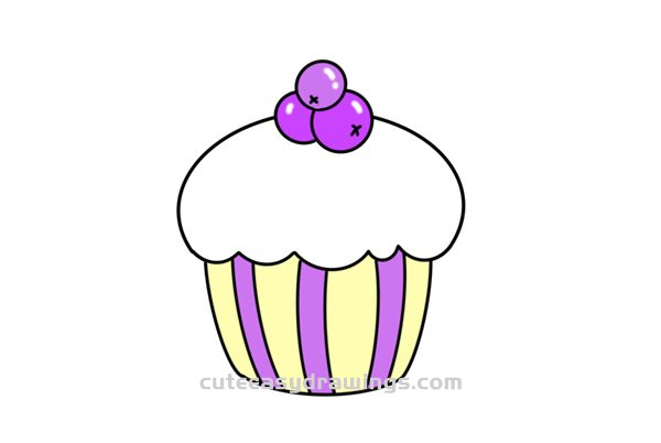 How to Draw a Blueberry Cupcake Easy Step by Step for Kids