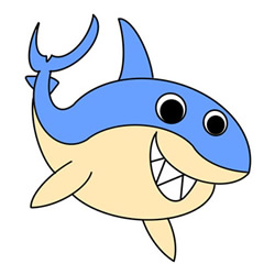 How to Draw a Cute Cartoon Shark Easy Step by Step for Kids