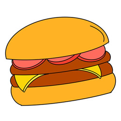 How to Draw a Beef Burger Easy Step by Step for Kids