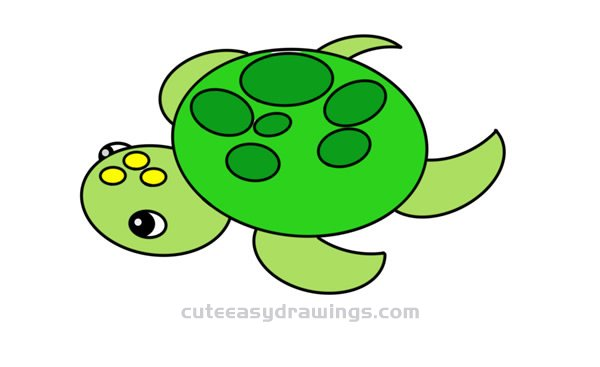 How To Draw A Cute Turtle Easy Step By Step For Kids Cute Easy