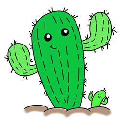 How to Draw Cartoon Cacti Easy Step by Step for Kids