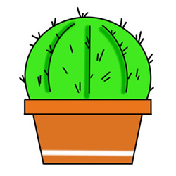 How to Draw a Pot of Ball Cactus Easy Step by Step for Kids