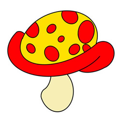 How to Draw a Colored Mushroom Easy Step by Step for Kids