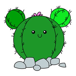 How to Draw a Cartoon Ball Cactus Easy Step by Step for Kids
