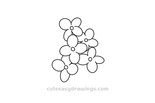 How to Draw a Lilac Flower Easy Step by Step for Kids