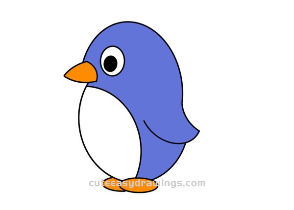 How to Draw a Standing Penguin Easy Step by Step for Kids