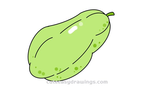 How to Draw a Colored Muskmelon Easy Step by Step for Kids
