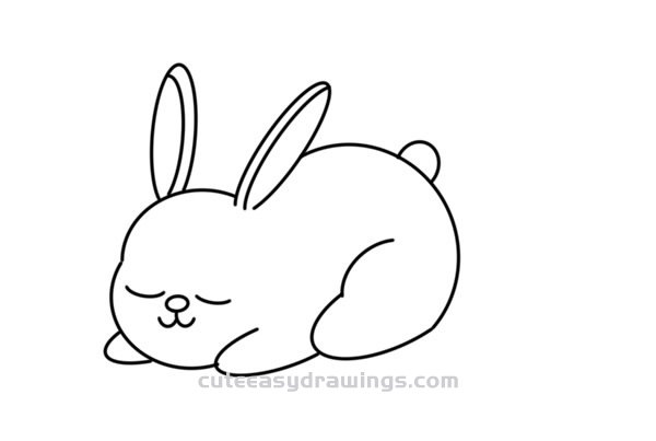 How to Draw a Sleeping Rabbit Easy Step by Step for Kids