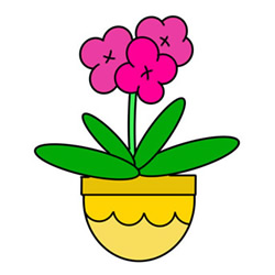 How to Draw a Pot of Orchids Easy Step by Step for Kids