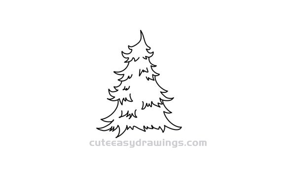 How to Draw a Fir Tree Easy Step by Step for Kids