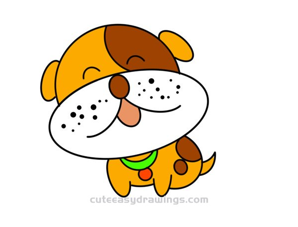 How To Draw A Happy Cartoon Dog Easy Step By Step For Kids Cute