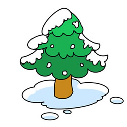 How to Draw a Pine Tree in Winter Easy Step by Step for Kids