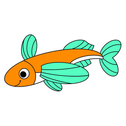 How to Draw a Cute Flying Fish Easy Step by Step for Kids