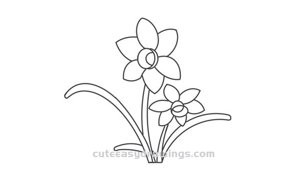 How to Draw a Daffodil Easy Step by Step for Kids