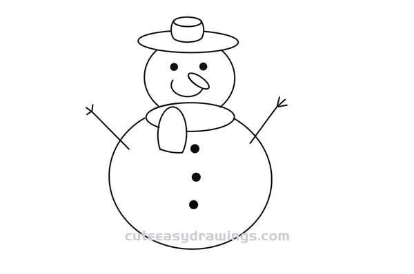 How to Draw a Christmas Snowman Easy Step by Step for Kids