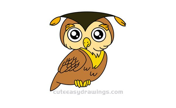How To Draw A Cartoon Owl Easy Step By Step For Kids Cute Easy