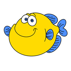 How to Draw a Fat Cartoon Fish Easy Step by Step for Kids