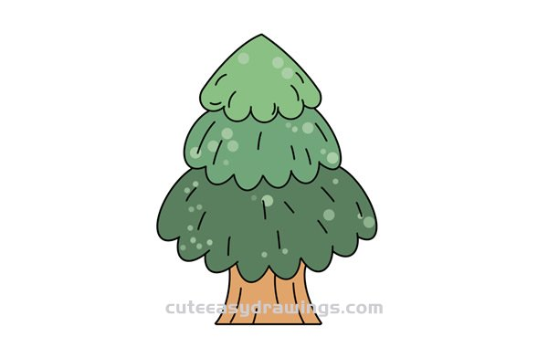 How to Draw a Cartoon Pine Tree Easy Step by Step for Kids