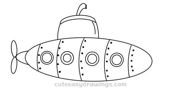How to Draw a Cartoon Submarine Easy Step by Step for Kids