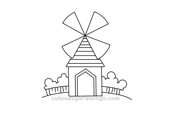 How to Draw a Cartoon Windmill Easy Step by Step for Kids