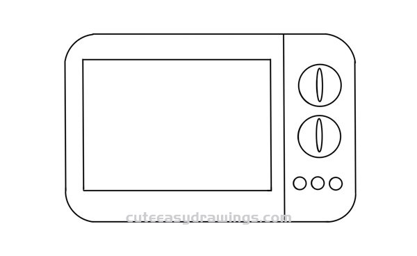 How to Draw a Microwave Oven Easy Step by Step for Kids