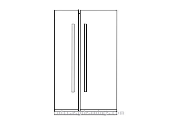 How to Draw a Side-by-Side Refrigerator Easy Step by Step for Kids
