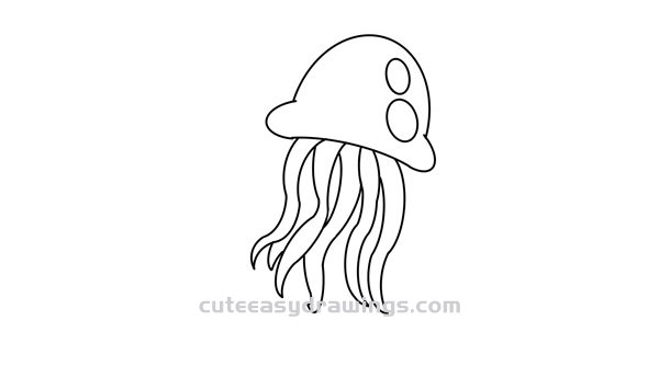 How to Draw a Cute Jellyfish Easy Step by Step for Kids