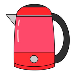 How to Draw a Red Electric Kettle Easy Step by Step for Kids
