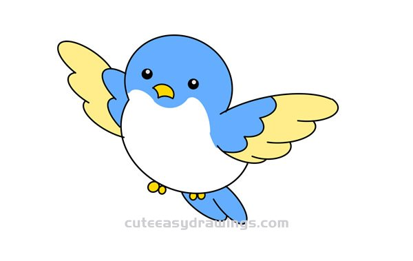 How To Draw A Cute Flying Bird Easy Step By Step For Kids Cute Easy Drawings