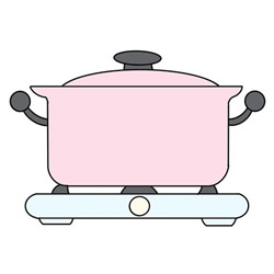 How to Draw a Pot on a Gas Stove Easy Step by Step for Kids