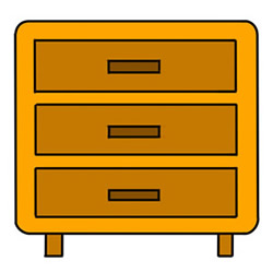 How to Draw a Bedside Table with Drawers Easy Step by Step for Kids