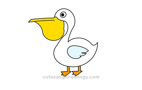 How To Draw A Cartoon Pelican Easy Step By Step For Kids Cute Easy Drawings