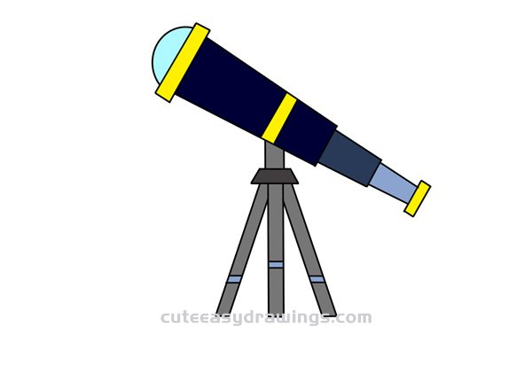 How to Draw an Astronomical Telescope Easy Step by Step for Kids