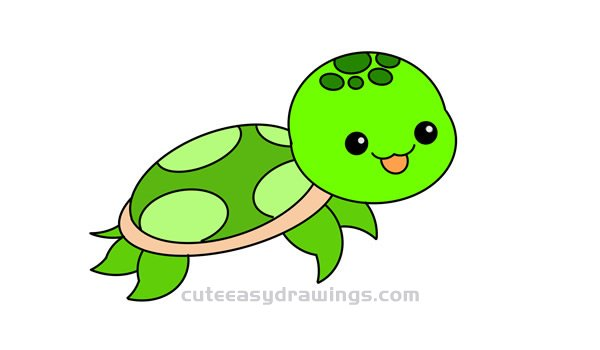 How To Draw A Baby Turtle Easy Step By Step For Kids Cute Easy Drawings