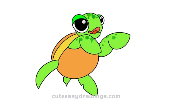 How To Draw A Sea Turtle Swimming Easy Step By Step For Kids