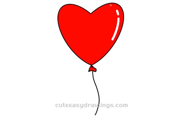 How To Draw A Love Heart Balloon Easy Step By Step For Kids Cute Easy Drawings