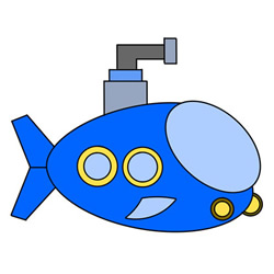 Cute Submarine Drawing Step by Step for Kids