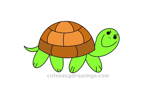 How To Draw A Cartoon Tortoise Easy Step By Step For Kids Cute