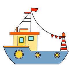 How to Draw a Fishing Boat Easy Step by Step for Kids