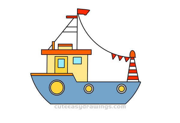 How To Draw A Fishing Boat Easy Step By Step For Kids Cute Easy Drawings
